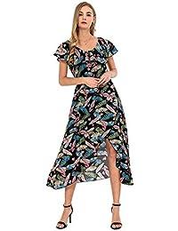 f9d97c9e78b1 Wantdo Vestiti da Spiaggia Lungo Bohemian Taglie Grande con Stampa Donna