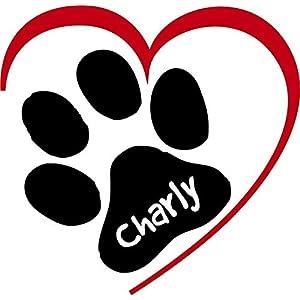 ***NEU*** Folienaufkleber/Sticker/Wandtattoo – Hunde Pfote mit Herz und Ihrem Wunschtext, Größen u. Farbauswahl