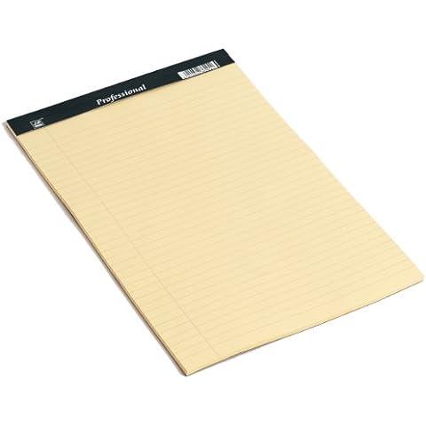 Rhino - Cuaderno de notas (A4, 8 mm, 50 hojas, con margen, a rayas), color amarillo claro