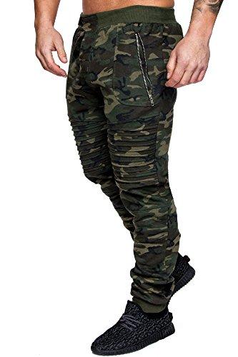 Amaci&Sons Herren Zipper Biker Style Camouflage Trainingshose Jogginghose Sporthose 2007 Camo Khaki XXL (Camo Hose)