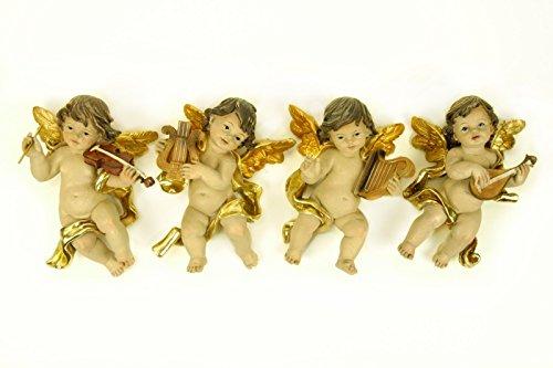 4 Figuras Religiosas Decorativas Pared' Ángel con Instrumento'. 11 x 17 x 7 cm.