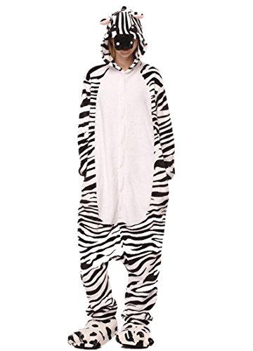 URVIP Neu Unisex Festliche Anzug Flanell Pyjamas Trickfilm Jumpsuit Tier Cartoon Fasching Halloween Kostüm Sleepsuit Party Cosplay Pyjama Schlafanzug Zebra Medium