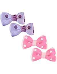 Sarah Small Polka Dots Pair Of Two Bow Clip For Girls - Purple & Pink