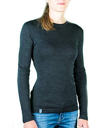 Alpin Loacker Merino Shirt Langarm 230g/m | 100% Merinowolle Sweatshirt Frauen | wärmeregulierendes Langarmshirt für Frauen Sport & Freizeit | Größenwahl (grau, m) -