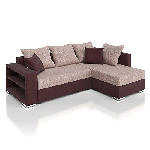 Vicco Sofa Couch Ecksofa Polsterecke Houston Schlafsofa braun Schlafcouch Bett