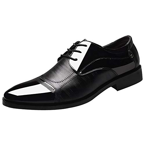 koperras Mens Patent Leather Oxford, Men's Flat Modern Classic Lace Up Leather Lined Splice Business Dress Shoes(US 5.5-6,Black) Youth Black Patent Schuhe