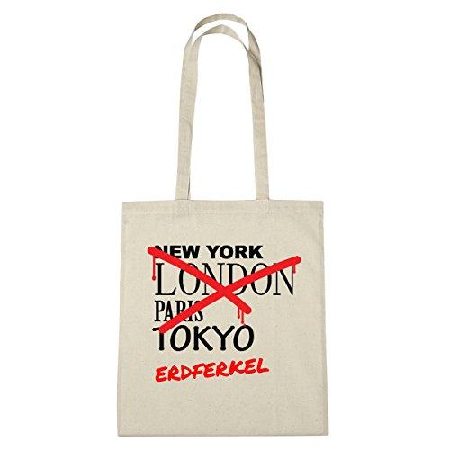 JOllify erdferkel Borsa di cotone b6278 schwarz: New York, London, Paris, Tokyo natur: Graffiti Streetart New York