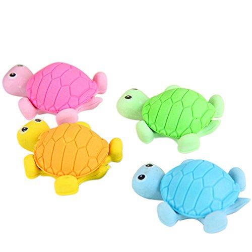 Blue Vessel 10pcs Turtle Radiergummi Tier kreativ Schreibwaren Farbe Random