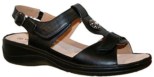 LADIES CUSHION WALK LIGHTWEIGHT SUMMER SANDAL WITH VELCRO STRAP 7 UK Black