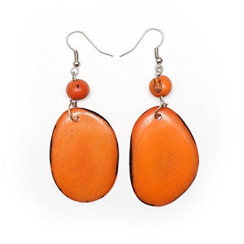 Idin Tagua Ohrringe - Orange Tagua Scheibuen und Acai-Beeren (ca. 7.5 cm) (Tagua-ohrringe)