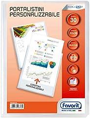 Favorit 100460324 - Portalistino Personalizzabile 30 Buste, 22 x 30 cm, Trasparente