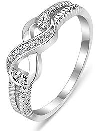 b2baca899 Coniea Ring Jewellery for Women Infinity Zircon Inlaid Jewellery Rings  Silver