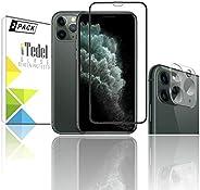 [قطعتان] واقي شاشة زجاجي فاخر 5D 9H من iTedel + واقي عدسة كاميرا ثلاثي الأبعاد 9H لـ Apple