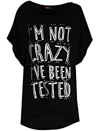 Ladies Casual Party I'M NOT CRAZY I'HV BEEN TESTED Prints Hi Lo Hem Baggy Oversized Womens Round Neck Top T Shirt Dress UK Plus Sizes 8-22