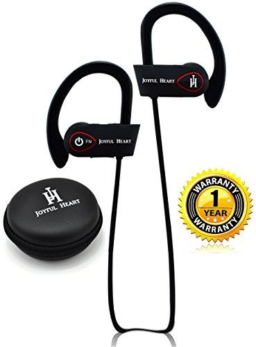 Joyful Heart JH-800 - Auricolari wireless Bluetooth sportivi, 100% impermeabili IPX7, audio di alta qualità con bassi, cancellazione del rumore, design ergonomico, vestibilità sicura, custodia con cerniera, 7 ore di autonomia, con microfono e tutorial YouTube