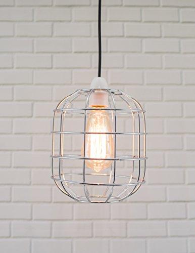 Chrome Island Light (Klein Retro Stil Käfig Licht Anhänger Metall Licht Schatten, Funky Modern Rustikal Rustikal Industrial Vintage Look, Lampenschirm - chrome)