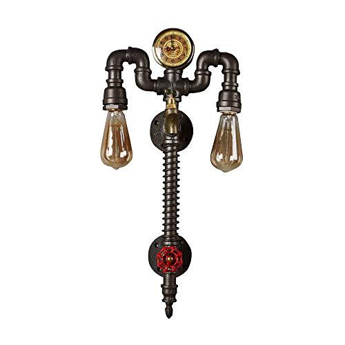 Industrie Vintage Wandleuchte Wasserrohr Wandlampe 2-Flammig E27 Fassung Innen Metall Rohr-Lampen Wohnzimmer Schlafzimmer Gang Treppen Korridor usw -