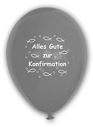 10 Luftballons Alles Gute zur Konfirmation, SILBER, ca. 30 cm Durchmesser