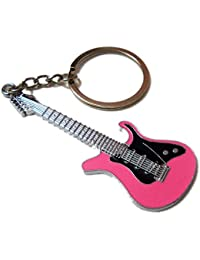 Guitar Shape Metal Keychain Stylish Key Ring Best Collectible & Gifting Item Pink
