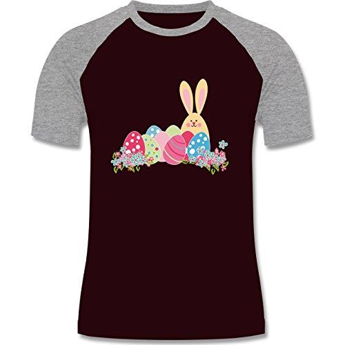 Ostern - Osterhase mit Eiern - zweifarbiges Baseballshirt für Männer Burgundrot/Grau meliert