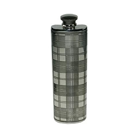 Flasque Rectangulaire à Tartan Ecossais en Etain 85mL