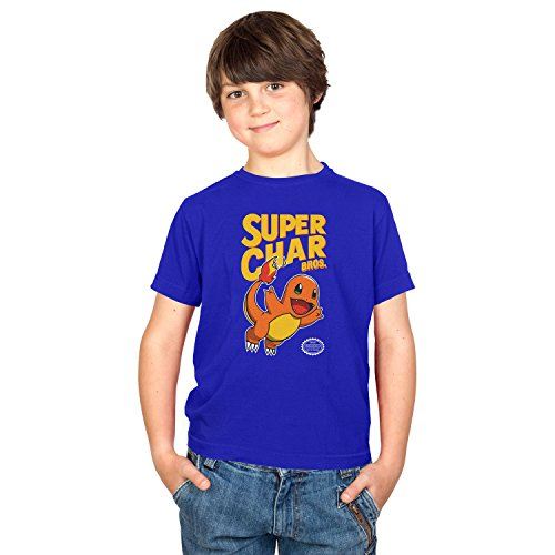 NERDO - Super Char Bros. - Kinder T-Shirt, Größe L, marine (Wario Kostüm Mädchen)
