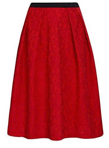 oodji Collection Damen Spitzenrock mit Dekorativem Gummiband Rot (4500L)