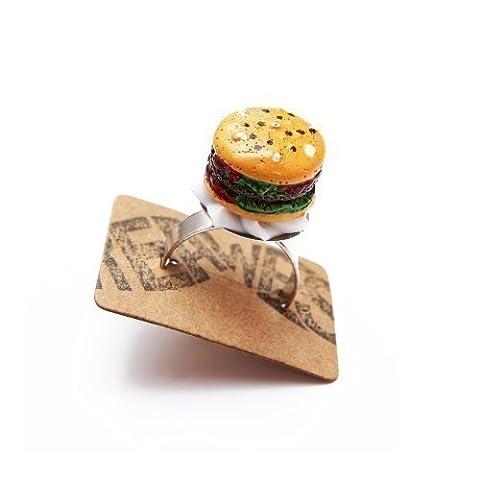 Burger Ring silber - verstellbare Größe - Kitsch Barbecue Fastfood Grillen (Burger Bar)