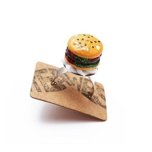 Burger Ring silber - verstellbare Größe - Kitsch Barbecue Fastfood Grillen (Burger Halloween Kostüm)