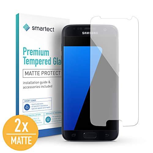 SmarTect [2X Mat Protector de Pantalla de Cristal Templado para Samsung Galaxy S7 Lámina Protectora Ultrafina de 0,3mm | Vidrio Robusto con Dureza 9H y Antihuellas Dactilares