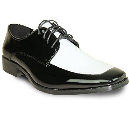 Vangelo Herren Schuhe Tuxedo tux-3bicolor Farbe knitterfreie Kleid Schuhe Formale Oxford schwarz Patent 8,5m Oxford Tuxedo