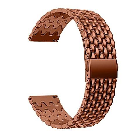 Bracelet de montre 23mm, Happytop Staninless Acier Bracelet de montre bracelet pour Fitbit Blaze Smart Watch S café