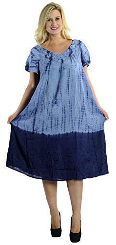 La Leela Blumenhandgemachte tie dye Bademoden lässig Vintage Rayon Kleid blau maxi - Für Maxi-kleider Blau Licht Frauen