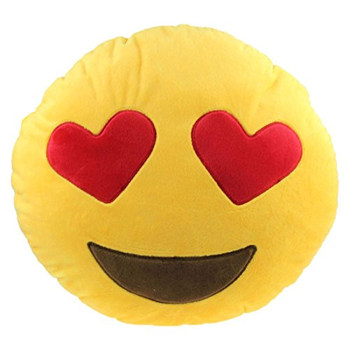 Ducomi® Cuscini Emoji Smiley - Smiling Face With Heart-Shaped Eyes