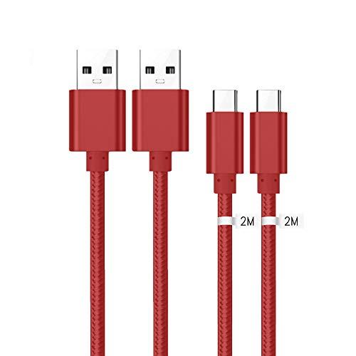 Kit Me Out Cavo USB C, Trasferimento Dati e Ricarica Rapida, Intrecciato Trecciato Antigroviglio Nylon, Cavi USB Type C [2 Pezzi 2M] per Xiaomi Redmi Note 7 [3.1 Amp] USB Typ C Cavo - Rosso