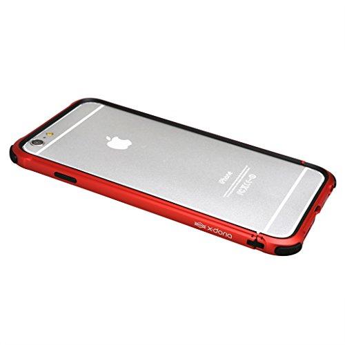 X-Doria D¨¦fense engrenage robuste [grade militaire protection D¨¦rouler] TPU Dual Layer et Rail d'aluminium Bumper Case pour iPhone et iPhone 6 6s (4.7Inch) (Rouge) Red