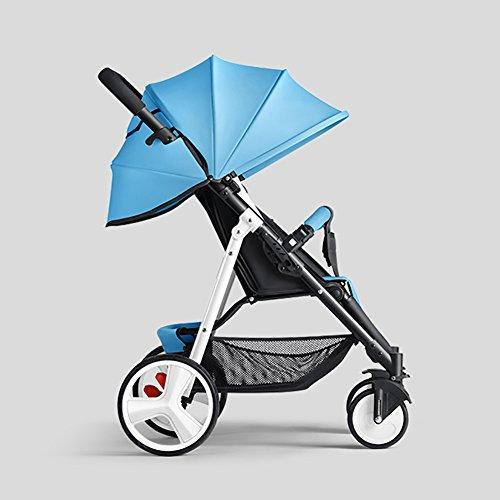 ERRU- Cochecito de bebé puede sentarse Sillas de paseo reclinables Ligero Mini plegable Sistemas de viaje de acero al aire libre Verano infantil Portátil Púrpura Azul Marrón Amarillo Rojo Cochecitos Carritos con capazo ( Color : Azul )