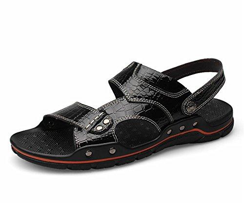 Casual cuir pour homme ouvert Toed Sandals main extérieur 1
