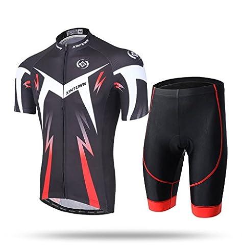 XINTOWN Summer Mens Pro Jersey de cyclisme Jersey de vélo thermique pour vêtements froids + Racing Bib Tight Set - Confortable, léger, respirant ( Color : Lightning red , Size : XXL )