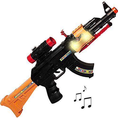 hwarzes Gewehr / 50 cm lang - Maschinengewehr mit LED + Sound + SCHUSSGERÄUSCH - Batterie betrieben - aus Kunststoff - Spielzeug - Faschin.. ()