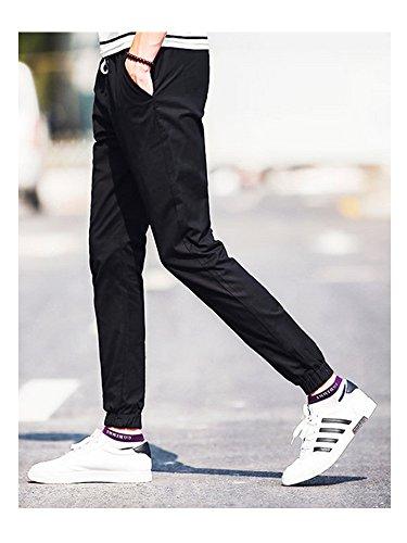 Homme pantalon chino slim fit en coton Casual taille élastique Noir