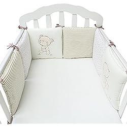 Jiyaru Tour de lit Bébé Protection Literie Enfant Coussin 6 Pièce 30 * 30cm Beige