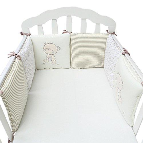 Xianheng Babybett Polster Baumwolle 6Stück, Seitenpolster-Set für ein Sichereres Gitterbett