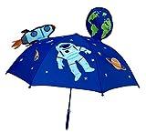 HECKBO® 3D Kinder Regenschirm Weltraum Space Astronaut | mit Rakete, Erde, Planeten, Satellit mit Sichtfenster | Sonnenschirm für Jungen und Mädchen | Umbrella für Schulkinder Kindergartenkinder