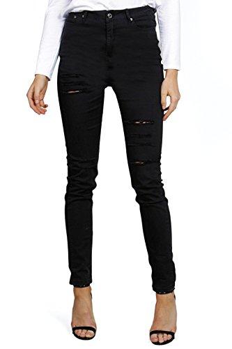 Schwarz Jane 5 Pkt High Rise Ripped Skinny Jeans Schwarz