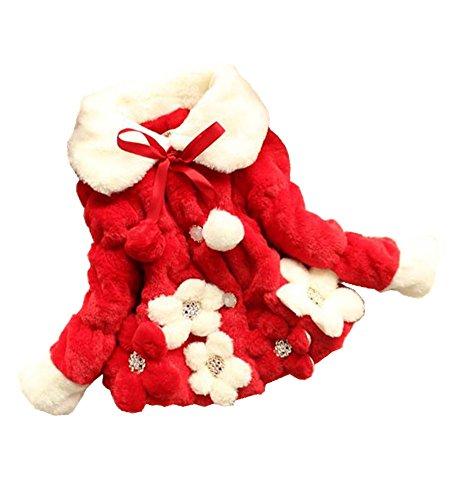 sallyshiny Baby Mädchen Kunstfell Fleece Mantel Jacke Blumen Kind Winter warme Kleidung Outfit Schneeanzug, Gr. 2-3 Jahre, Rot - Rot