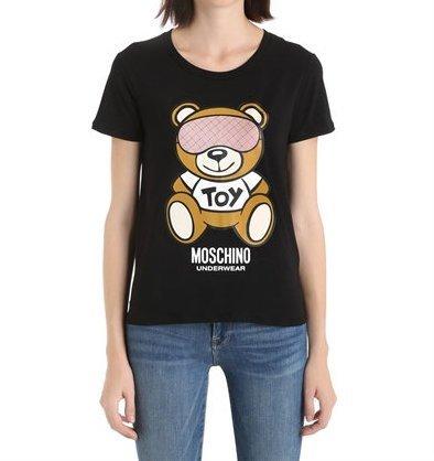T-shirt girocollo donna moschino underwear stampa orso bear colore nero am18mo11