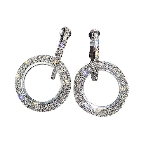 SMILEQ Luxus Runde Diamant Ohrringe Frauen Silber Gold Rosegold Glitter STU Ohrringe (Silber)
