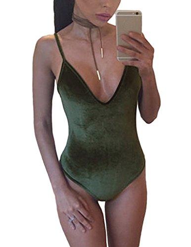 Smile YKK Jumpsuit Eté Femme Combinaison Bretelle Dos Nu Col V Bikini Plage Piscine Casual Vert
