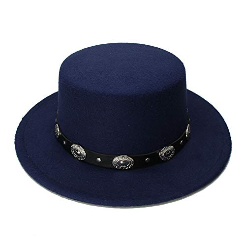 YQXR Moda Sombreros Moda de los hombres de la mujer de lana de la vendimia Sombrero Pastel de cerdo Porkpie Dome Sombrero Sombrero Punk Botas de aleación de cuero